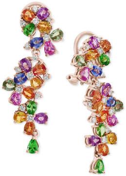 Effy Watercolors by Multi-Gemstone (9 ct. t.w.) & Diamond (3/4 ct. t.w.) Cluster Drop Earrings in 14k Rose Gold
