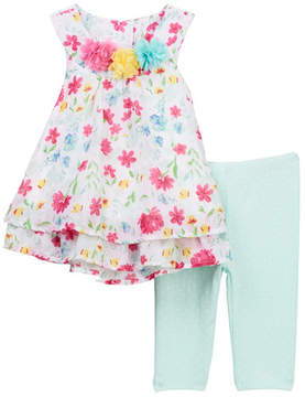 Little Me Floral Chiffon Tunic & Leggings Set (Baby Girls)
