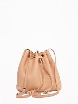 Faux-Leather Bucket Bag for Women
