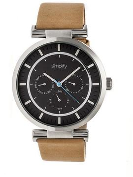 Simplify The 4800 SIM4805 Silver and Khaki Leather Analog Watch