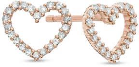 Zales 1/10 CT. T.W. Diamond Heart Stud Earrings in 10K Rose Gold
