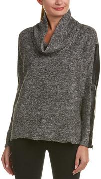 Blanc Noir Cowl Leather-Trim Wool-Blend Sweater