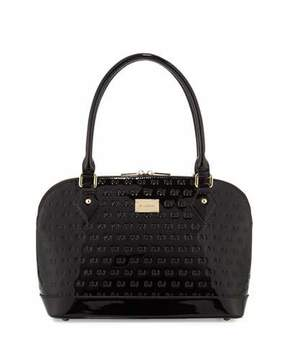 St. John Collection Logo-Embossed Patent Dome Bag, Black/Gold