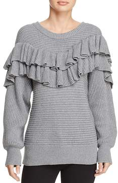 d.RA Merriam Ribbed-Knit Ruffled Sweater