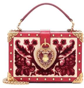 Dolce & Gabbana My Heart velvet and leather clutch