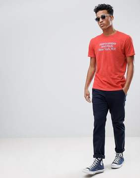 Abercrombie & Fitch Address Logo Print T-Shirt in Red