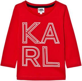 Karl Lagerfeld Red Print Long Sleeve Tee