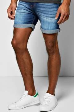 boohoo Skinny Fit Indigo Wash Denim Shorts