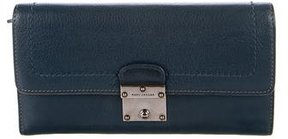 Marc Jacobs Leather Push-Lock Wallet - BLUE - STYLE