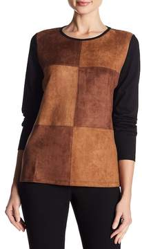 Foxcroft Faux Suede Patchwork Top