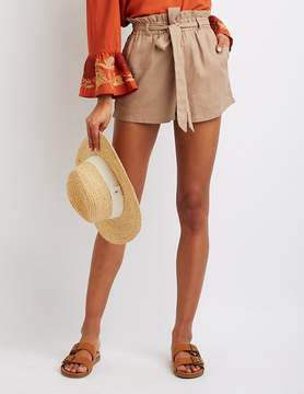 Charlotte Russe Tie-Front Paperbag Shorts