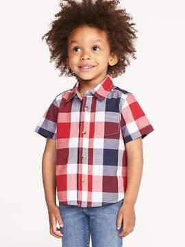 Old Navy Red, White & Blue Plaid Built-In Flex Shirt for Toddler Boiys