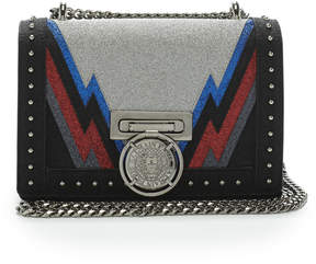 Balmain Studded Glittered Leather Shoulder Bag