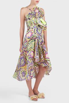 DELPOZO Printed Draped Dress