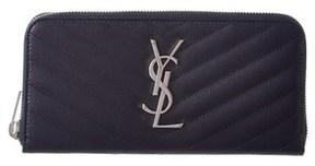 Saint Laurent Monogram Leather Zip Around Wallet. - NAVY - STYLE