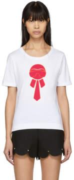 Fendi White Karlito Glitter T-Shirt