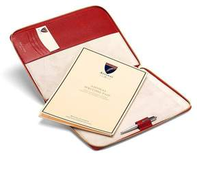 Aspinal of London Executive A4 Zipped Padfolio In Berry Lizard Cream Suede