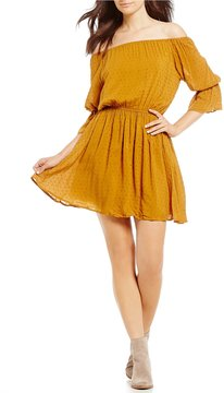 Copper Key Off-The-Shoulder 3/4 Ruffle Sleeve Clip Dot Dress