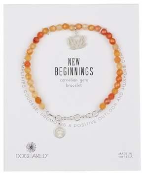Dogeared Sterling Silver New Beginnings Carnelian Bead & Lotus Charm Bracelet