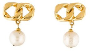 Chanel Chain-Link & Pearl Drop Earrings