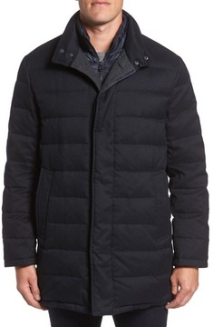 Cole Haan Men's Stand Collar Quilted Down Coat With Inset Bib