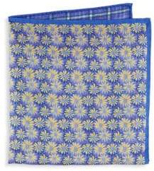 Saks Fifth Avenue Silk Floral Plaid Pocket Square