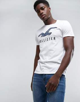 Hollister Crew T-Shirt Large Tech Icon Camo Slim Fit in White