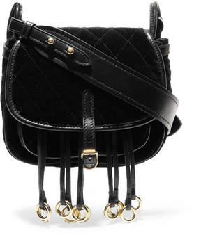 Prada Messenger Leather-trimmed Quilted Velvet Shoulder Bag - Black