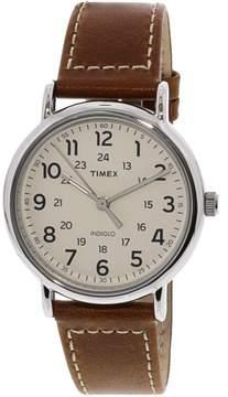 Timex Men's Weekender 40 TW2R42400 Silver Leather Analog Quartz Fashion Watch