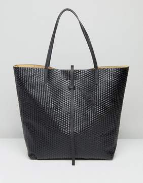 Glamorous Woven Tote Bag in Black