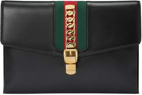 Gucci Sylvie leather maxi clutch - BLACK LEATHER - STYLE