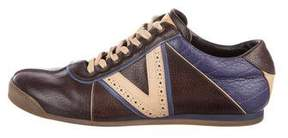 Louis Vuitton Leather Brogue-Trimmed Sneakers