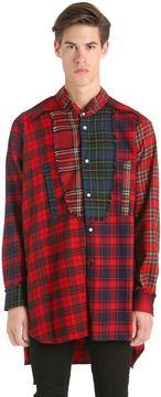 Loewe Long Asymmetric Patchwork Tartan Shirt