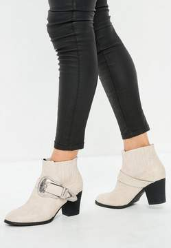 Missguided White Large Buckle Western Chelsea Boots