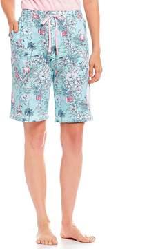 Karen Neuburger Flamingo-Printed Jersey Bermuda Sleep Shorts