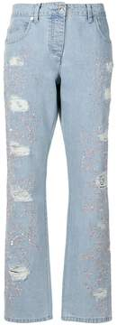 Blumarine embellished ripped jeans