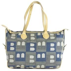 Bally Blue & Cream Canvas Tote Bag