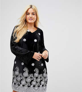 Alice & You Long Sleeve Swing Dress In Velvet With Premium Metallic Embroidery