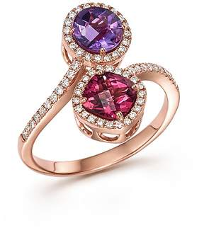 Bloomingdale's Amethyst and Rhodolite Garnet Ring with Diamonds in 14K Rose Gold - 100% Exclusive