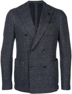 Lardini woven double breasted jacket