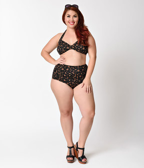 Esther Williams Plus Size Retro Ditsy Floral High Waist Swim Bottom