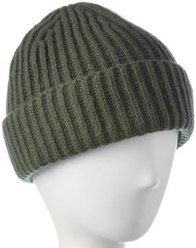 Portolano Men's Olive Double Racking Stitch Cashmere Hat