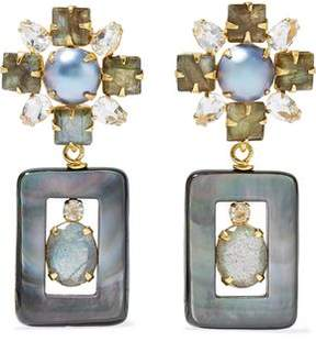 Bounkit Gold-Tone Multi-Stone Earrings