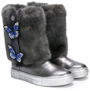 Miss Blumarine fur butterfly detail boots