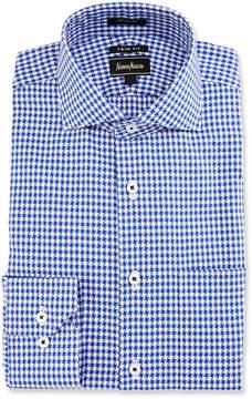 Neiman Marcus Trim-Fit Pinwheel Dress Shirt, Blue