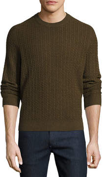 Neiman Marcus Cable-Knit Cashmere Crewneck Sweater