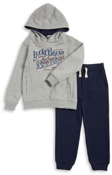 Lucky Brand Little Boy's Two-Piece Graphic Hoodie and Plain Jogger Pants Set
