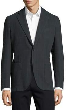 Neiman Marcus Windowpane Check Two-Button Sport Jacket