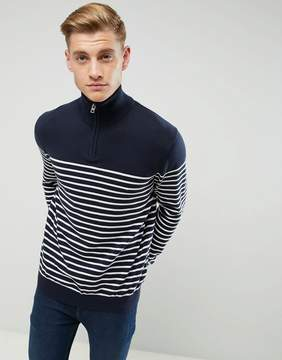 Esprit 1/2 Zip Neck Knitted Sweater With Stripe