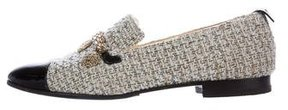 Chanel Tweed Embellished Loafers